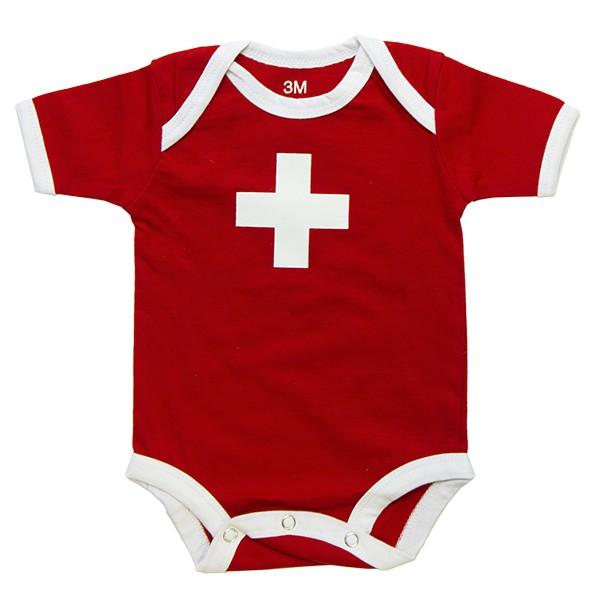 Baby-Body Schweizerkreuz, rot
