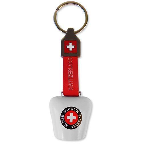 Schlüsselanhänger Glocke CH-Kreuz, Lederband
